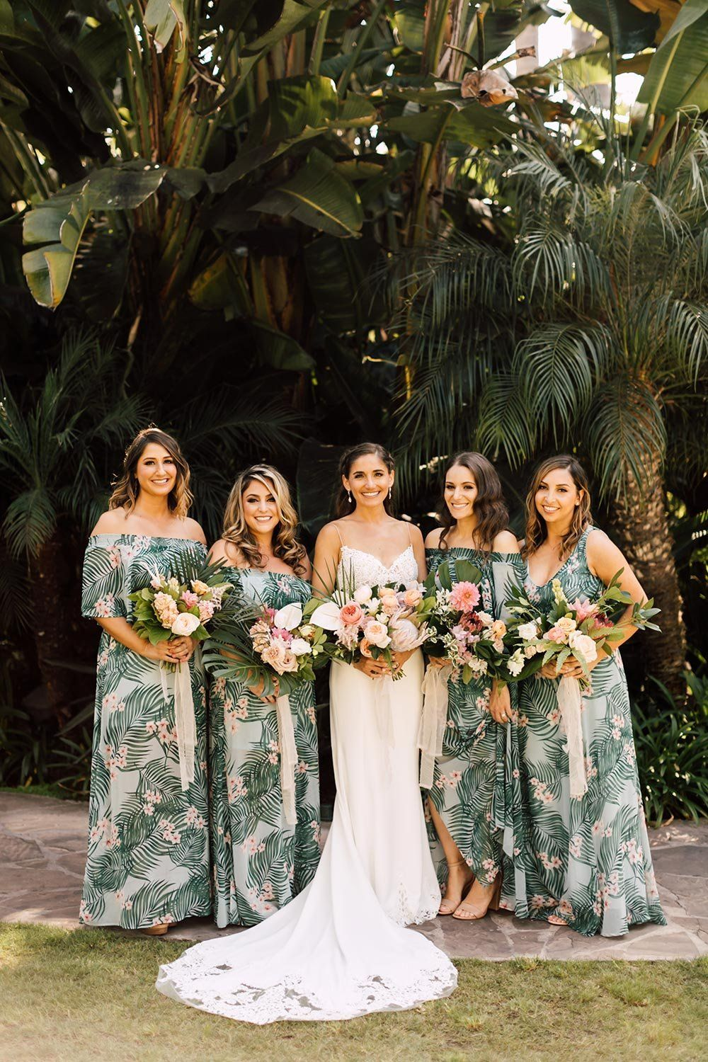 Tropical Beach Wedding With Palm Fronds And Ocean Breeze Ruffled Printed Bridesmaid Dresses Destination Wedding Bridesmaid Dresses Beach Bridesmaid Dresses