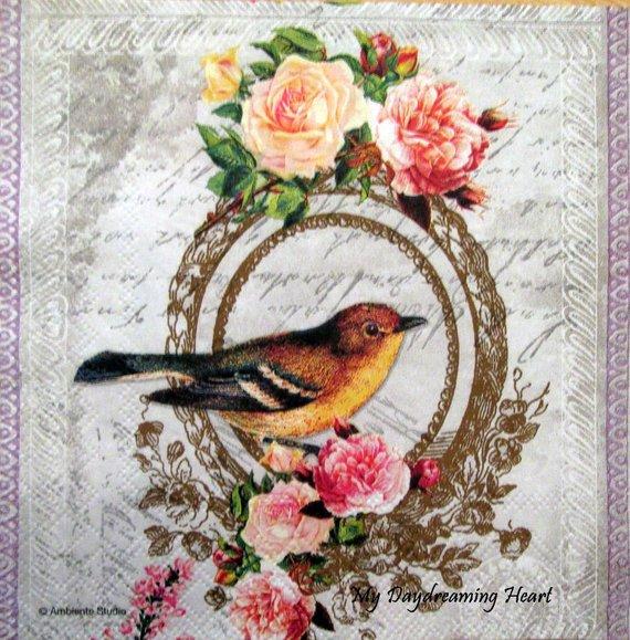 Decoupage Paper Napkins Vintage Bird Roses Writing Napkin Decoupage Collage Supplies Mixed Medi Paper Napkins For Decoupage Decoupage Paper Vintage Birds