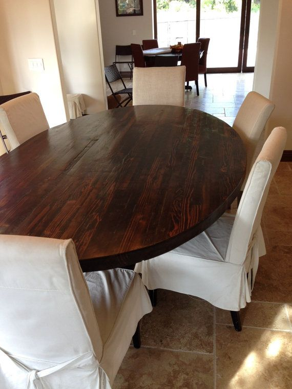 Butcher Block Wood Kitchen Table : SALE! Butcher Block Strip Oval Wood Dining Table from Reclaimed Wood For the Home Oval ...