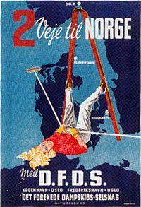 Vintage ski poster - Denmark - Designer:Mogens Bryder  1950