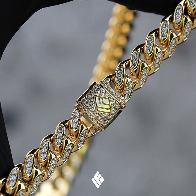 0cf5753a7f15c Solid 14K Yellow Gold 10mm Cuban Link Chain Fully Iced Out With ...