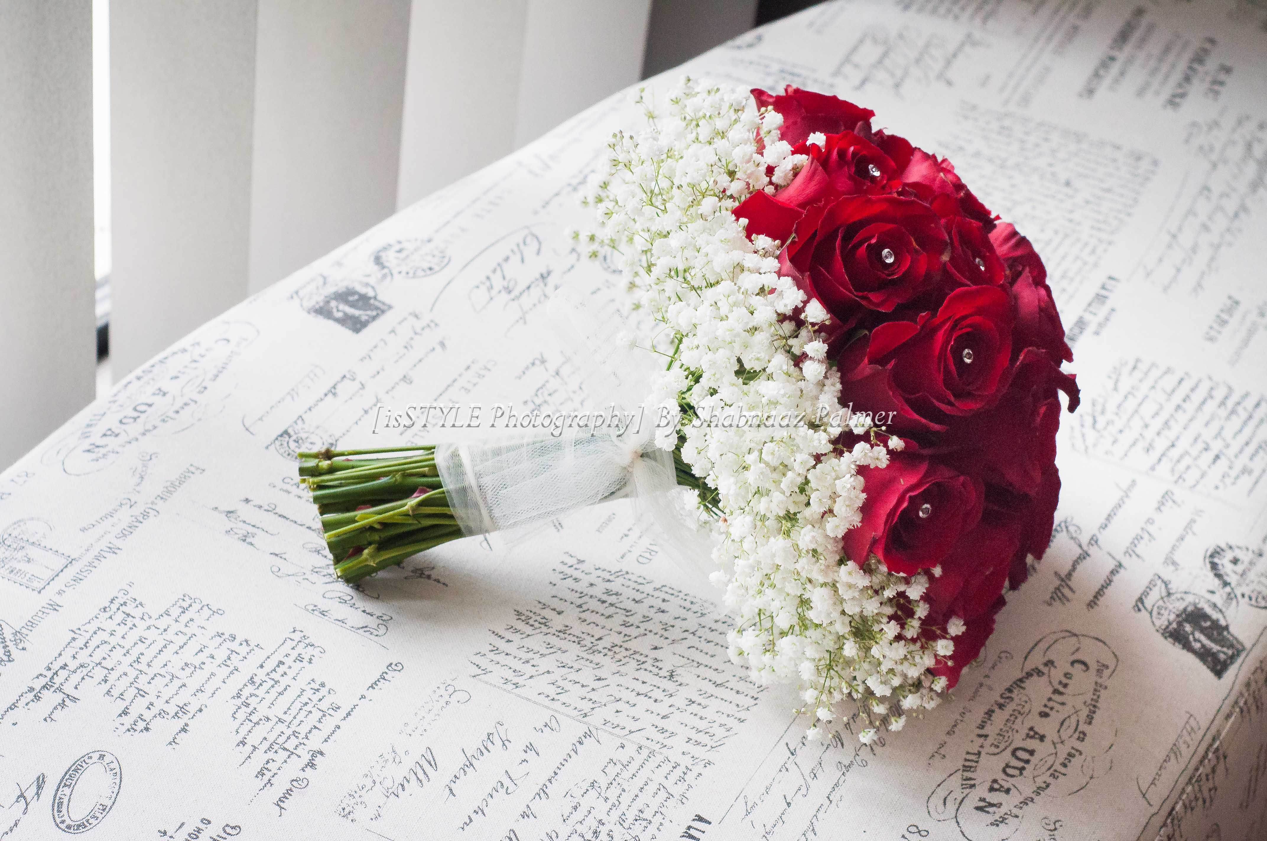 Elegant Red Rose And Baby S Breath Wedding Bouquet Babys Breath Bouquet Wedding Rose Wedding Bouquet Hand Bouquet Wedding