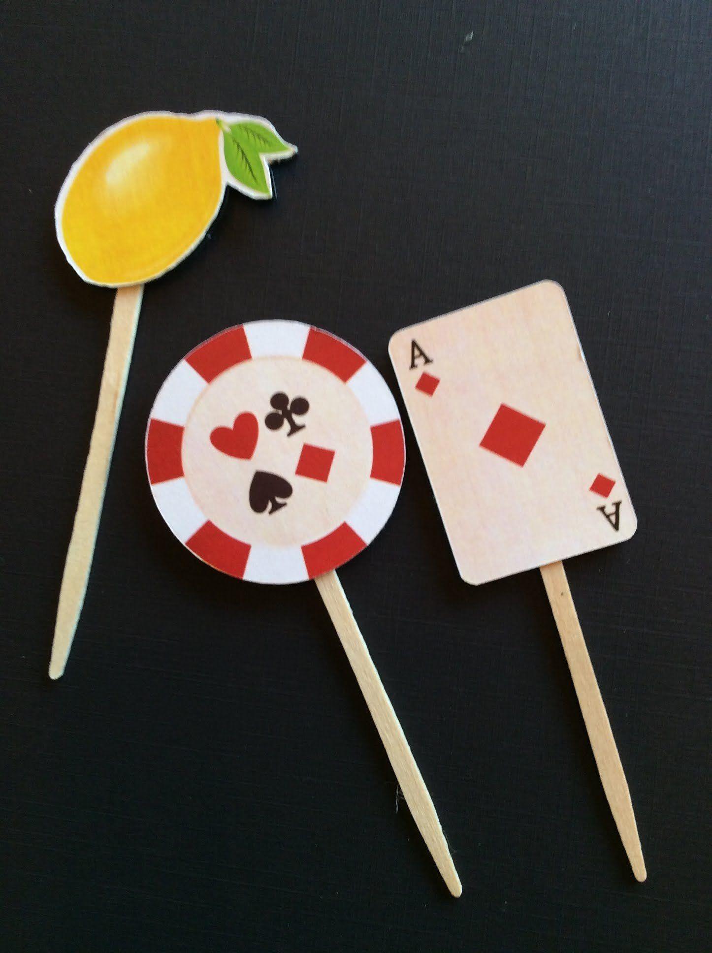 Casino Las Vegas Party Cupcake Topperspicksthemeroulettepokerbat