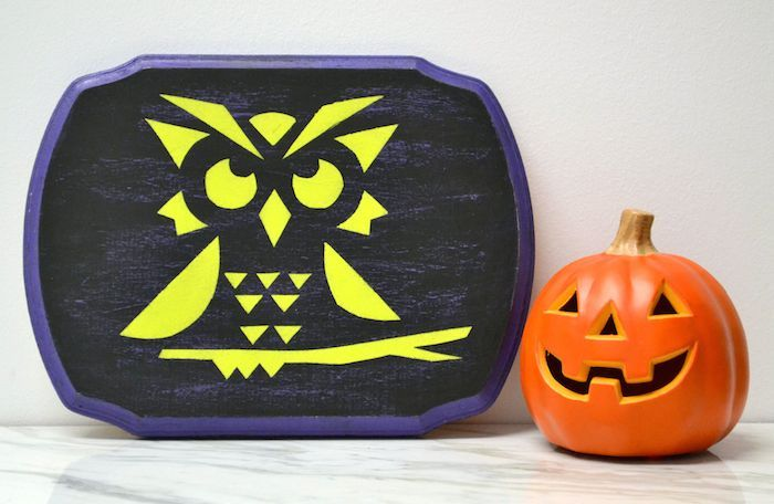 This fun owl craft is perfect for fall and Halloween! Paint a plaque and then use Glow in the Dark Mod Podge as a special touch. So fun when the lights go out!