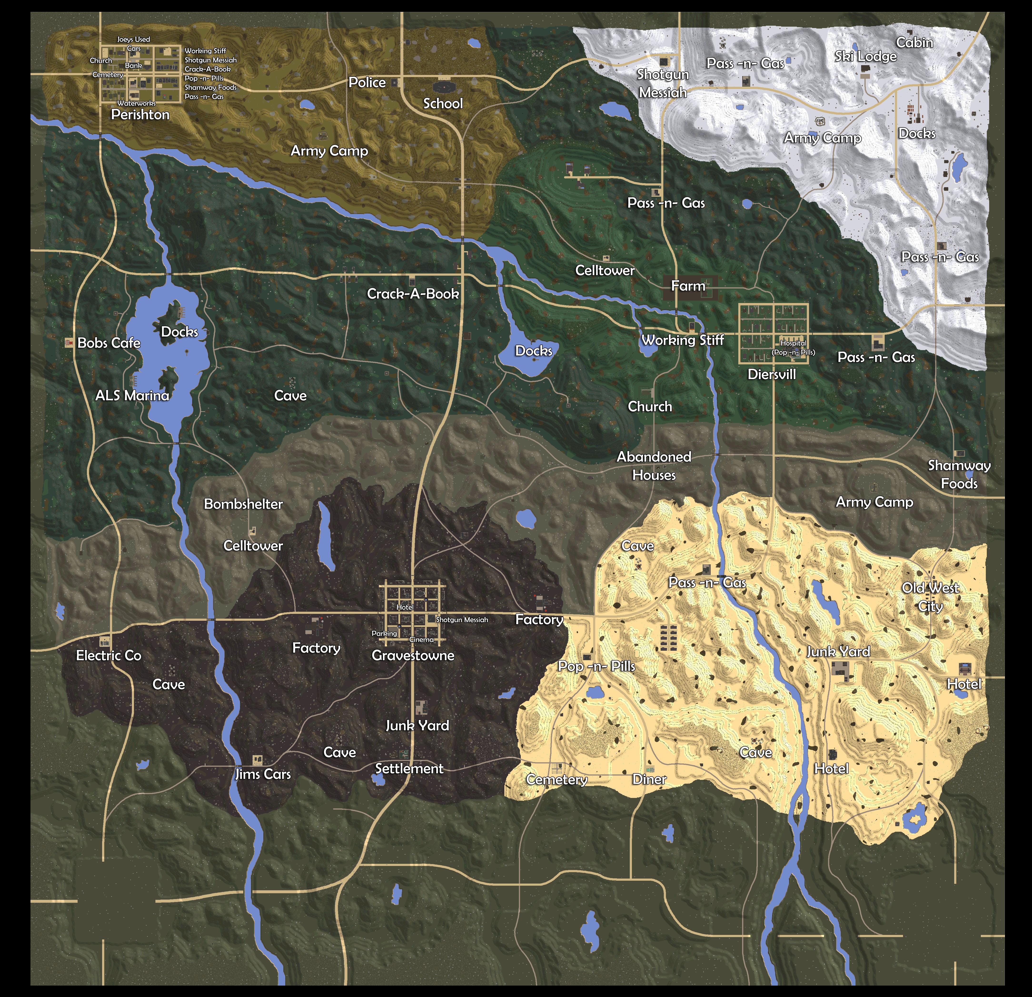 Navezgane Map Png 4 336 4 192 Pixels 7 Days To Die Map Day