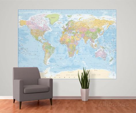 Mapa politca del mundo mural wall murals wallpaper murals and mapa politca del mundo mural mural de papel pintado en allposters world map wallworld mapswallpaper muralswall muralscoffee shopsjohn lewisoffice gumiabroncs Image collections