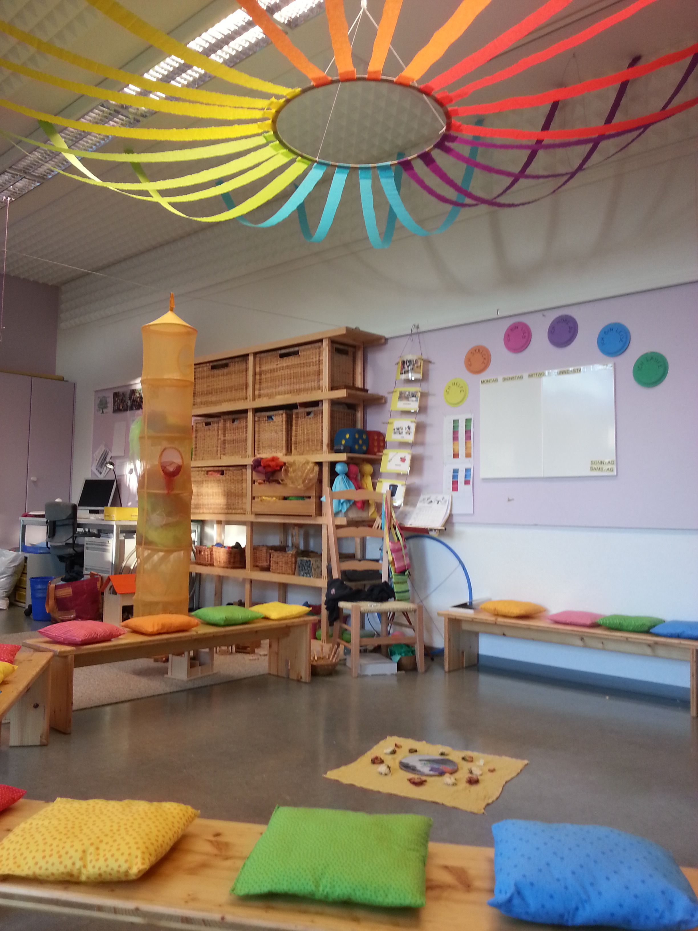 Great Ideas For School Color Theme Kindergarten Love The Hoop And Crepe Paper Suspended From The Ceiling Awesome