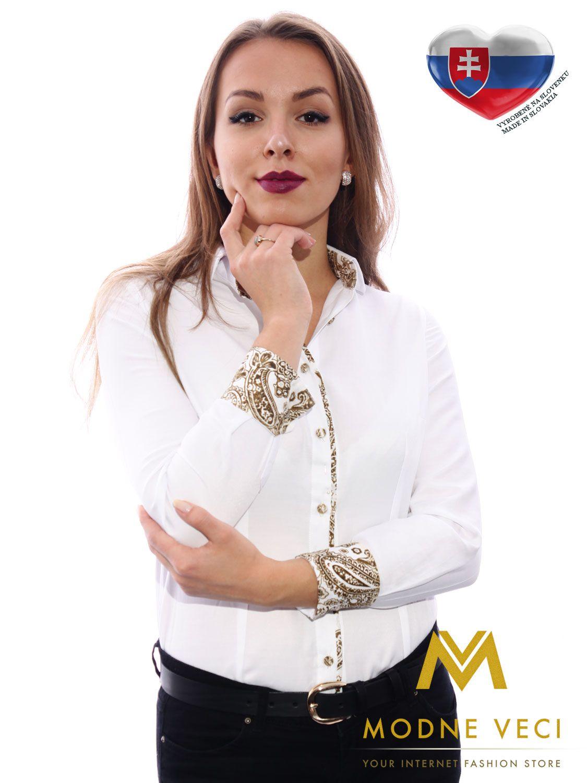 a672c047ba38 luxusná dámska košela bluzka biela s nádhernými hnedým lemom ...