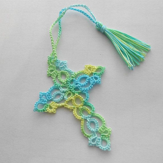 Tatted Cross Bookmark - Tatted Lace Bookmark - Tatted Bookmark ...
