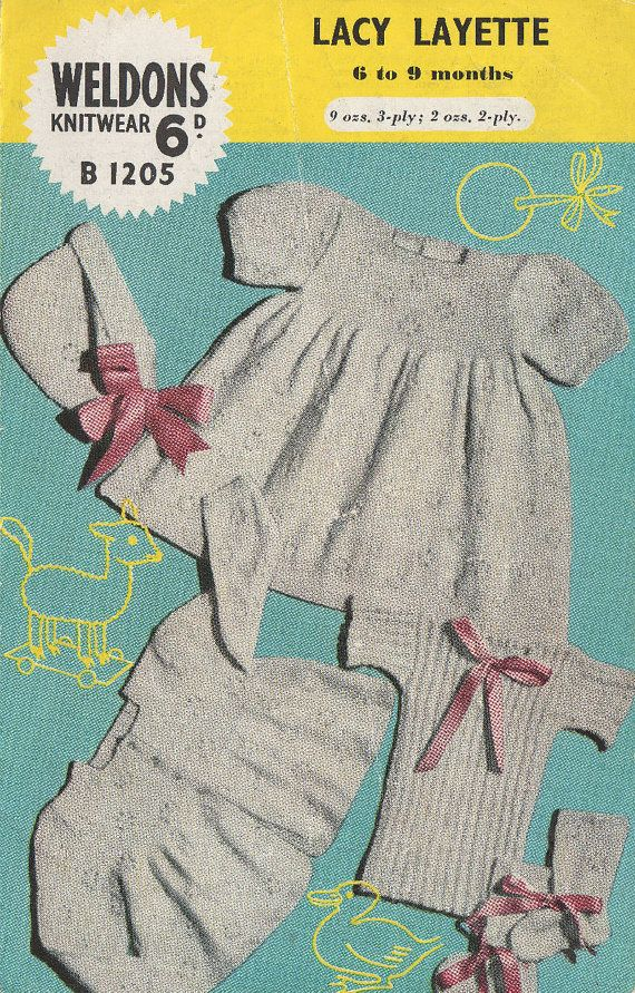 a89cae6aae12 Weldons 1205 baby matinee dress and coat set vintage baby knitting ...