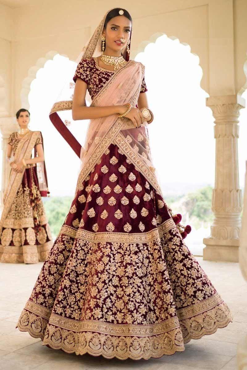 21ed90eb4ea Lovely Ruby Rose   Peach Indian Two Tone Velvet Bridal Machine Embroidery. Maroon  velvet silk heavy embroidered bridal lehenga ...