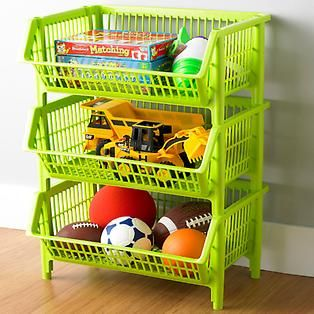 Our White Stackable Baskets Case Of 4 With Images Large Storage Baskets Container Store Storage Bins