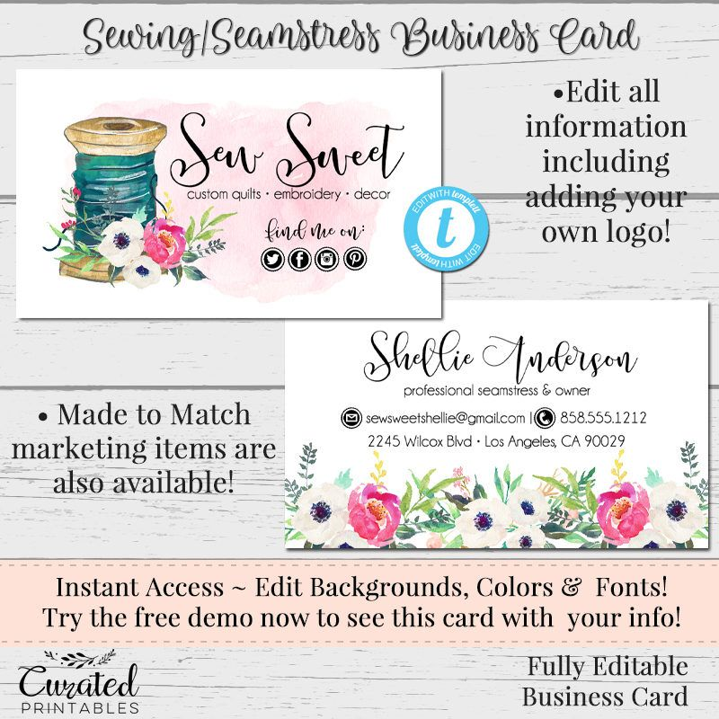 Sewing business card seamstress business card business card sewing business card seamstress business card business card template diy business card colourmoves