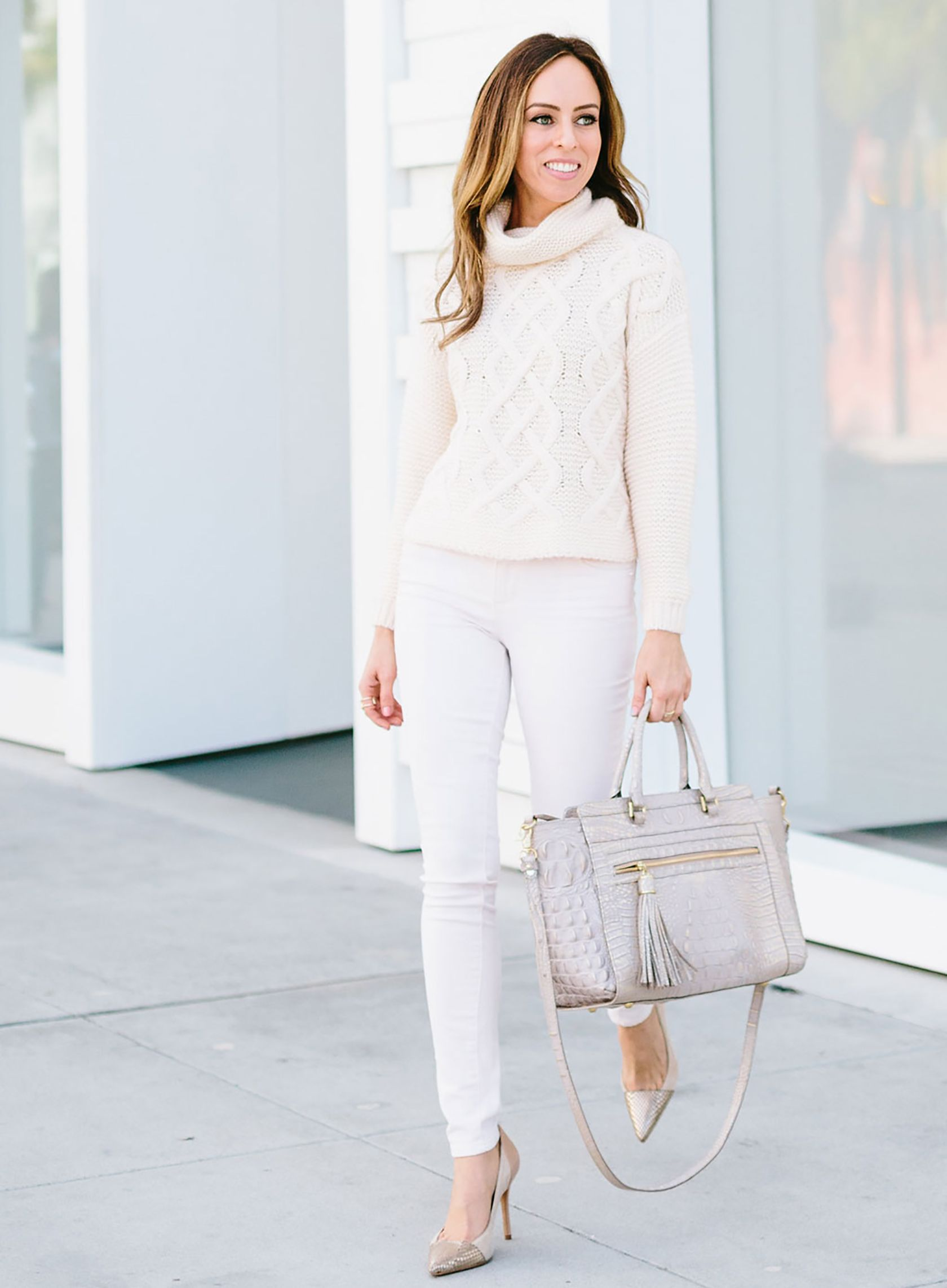3367e47acaae7 Sydne Style shows pink outfit ideas for fall with monochromatic pastel pink  #pink #sweaters @sydnesummer