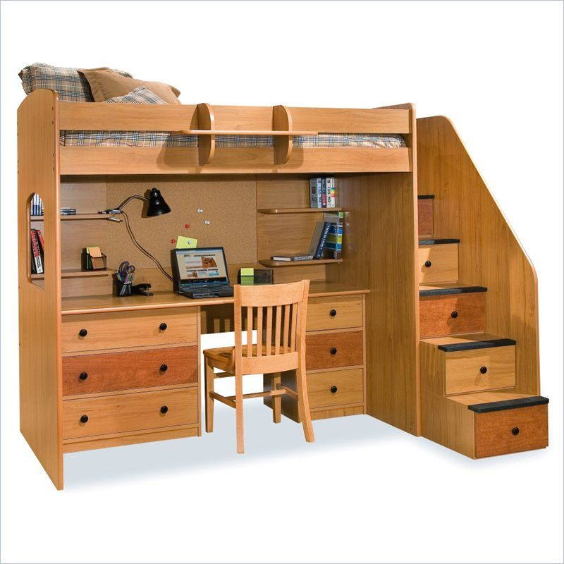 Lowest price online on all Berg Furniture Utica Lofts Twin Loft Bed with  Storage Stairs -