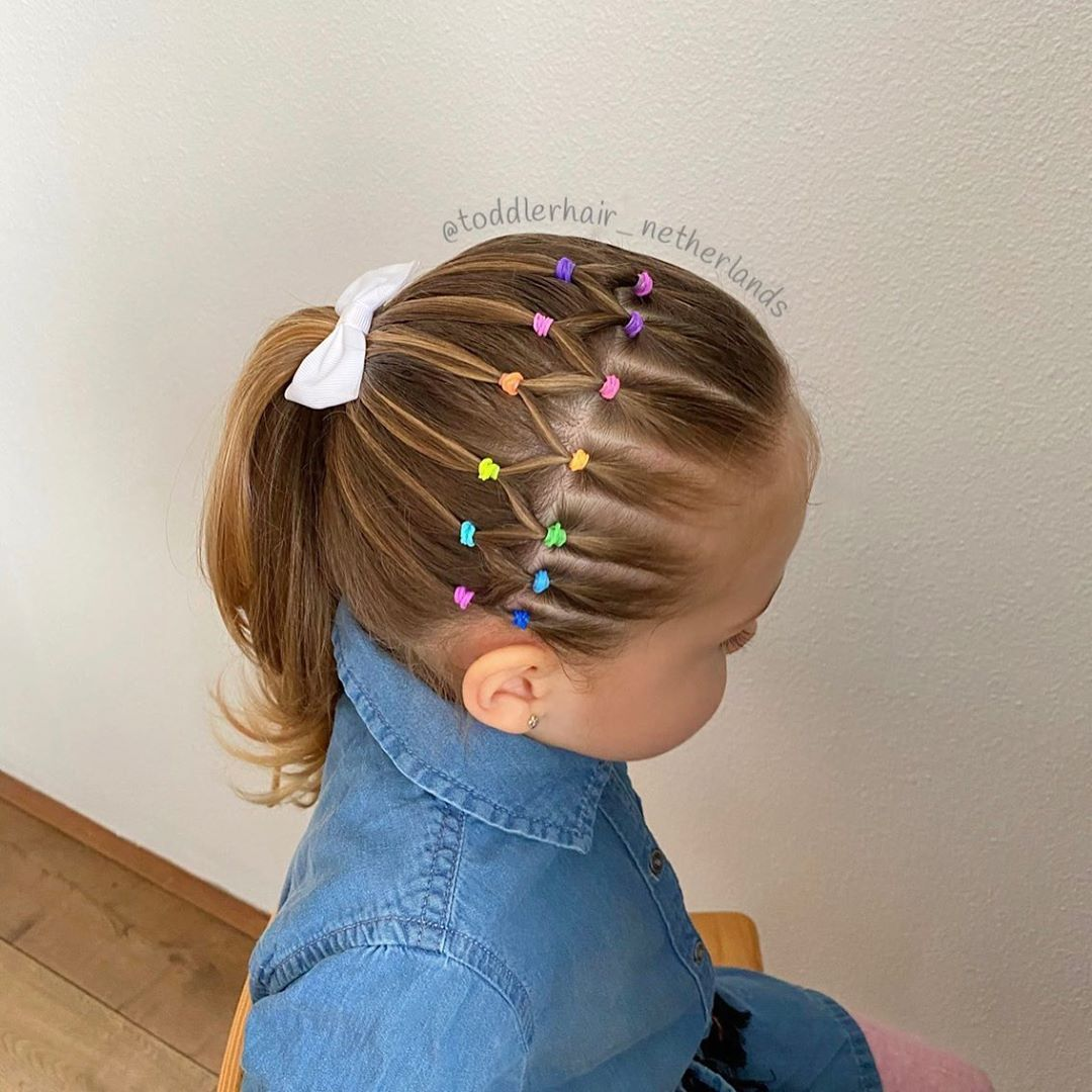 """Alix's Hairstyles on Instagram: """"🌈Rainbow elasticstyle into a high ponytail on the side of her head 🌈  What do you think of this style☺️?. . . . . . . . . . . . . . .🌈…"""""""