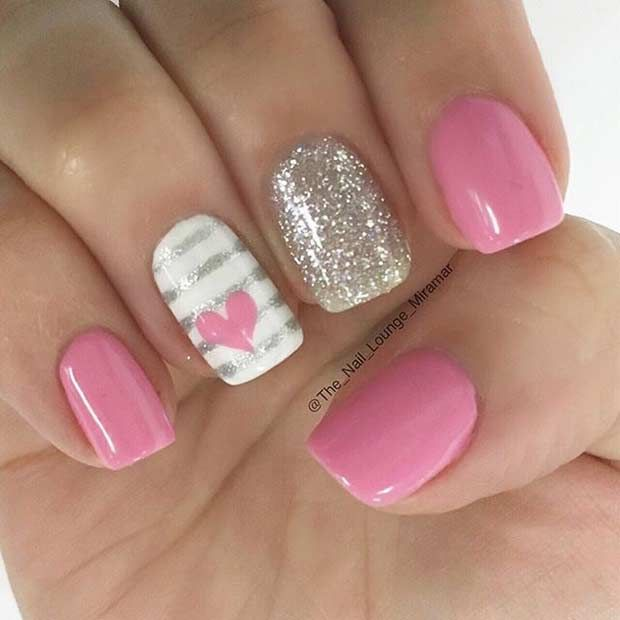 Pink Nails + Striped Accent Nail - 55 Super Easy Nail Designs Nail Stripes, Accent Nails And Pink Nails