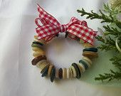 Ornament of vintage buttons with gingham bow