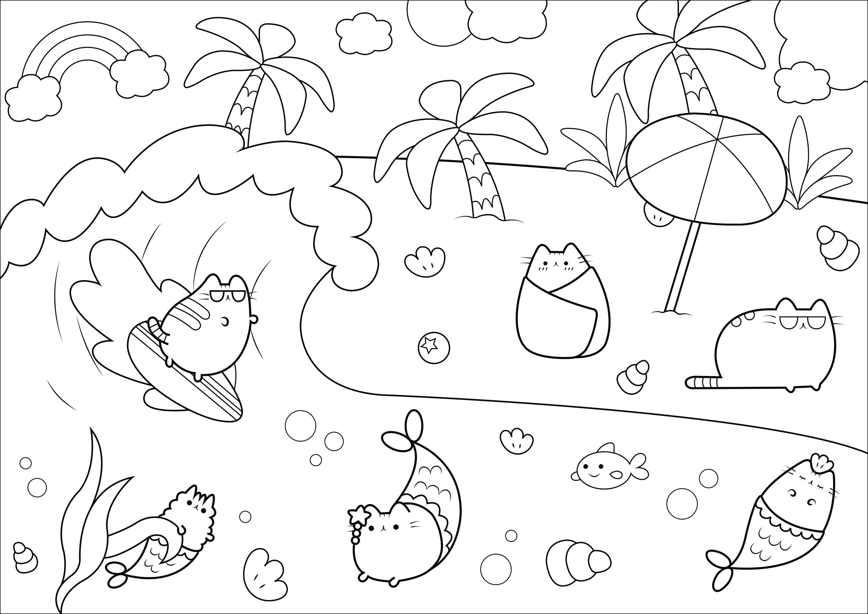 Pusheen Cats Enjoying A Beach Vacation Unicorn Coloring Pages Mermaid Coloring Pages Cat Coloring Page