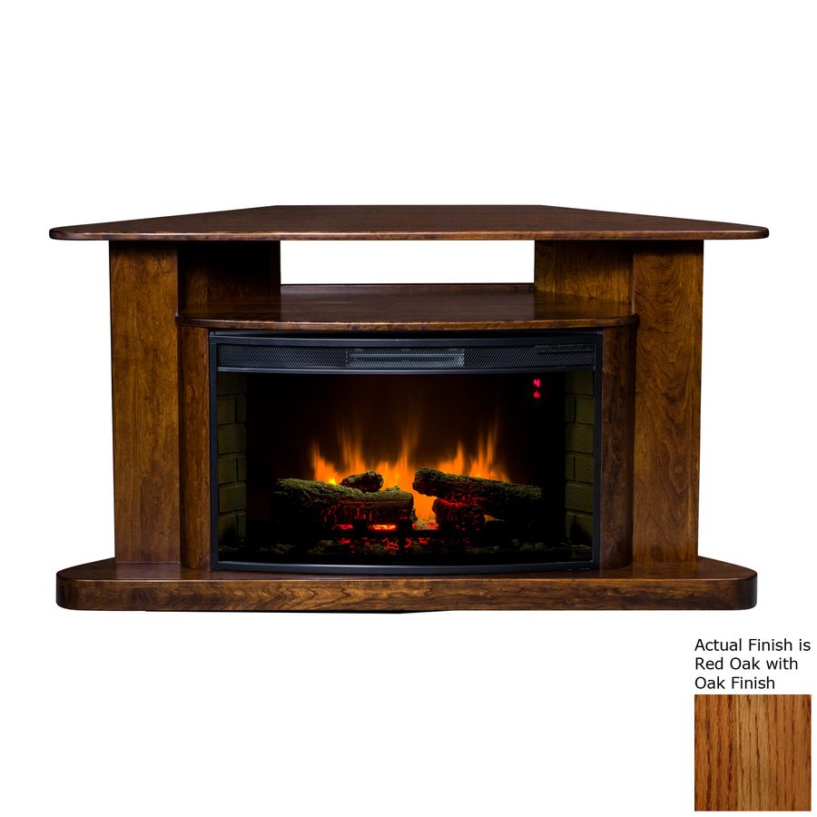 60 In W 5200 Btu Red Oak Wood Corner Led Electric Fireplace With