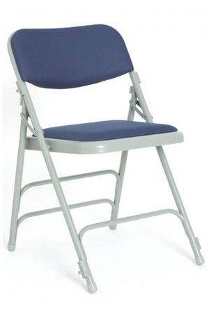 Comfort Folding Chair Grey Frame Blue Fabric