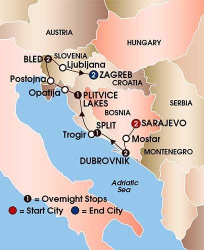 Bosnia Croatia Slovenia 11 Day 10 Night Coach Tour K801 Croatia Tours Dubrovnik Coach Tours