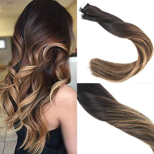 Tape In Balayage Ombre Black To Dark Brown And Caramel Blonde Human