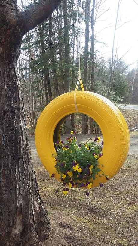 Tire Swing Planter Crafty Creations Garden Crafts Planting