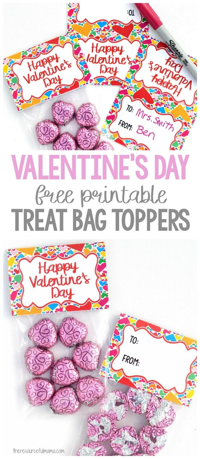 These Valentine's Day Treat Bag Toppers work great for giving friends, family, teachers, or anyone else a special little Valentine's day treat. #valentinesday