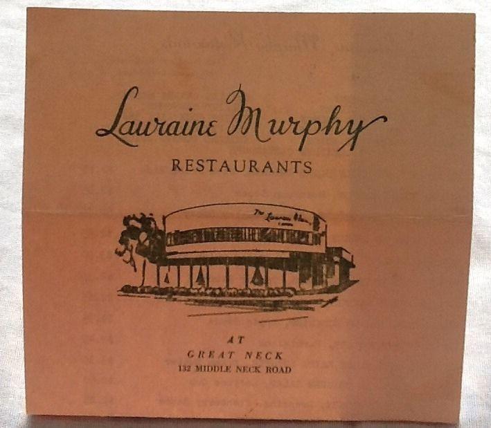 Lauraine Murphy Restaurants Menu 1956 Great Neck New York