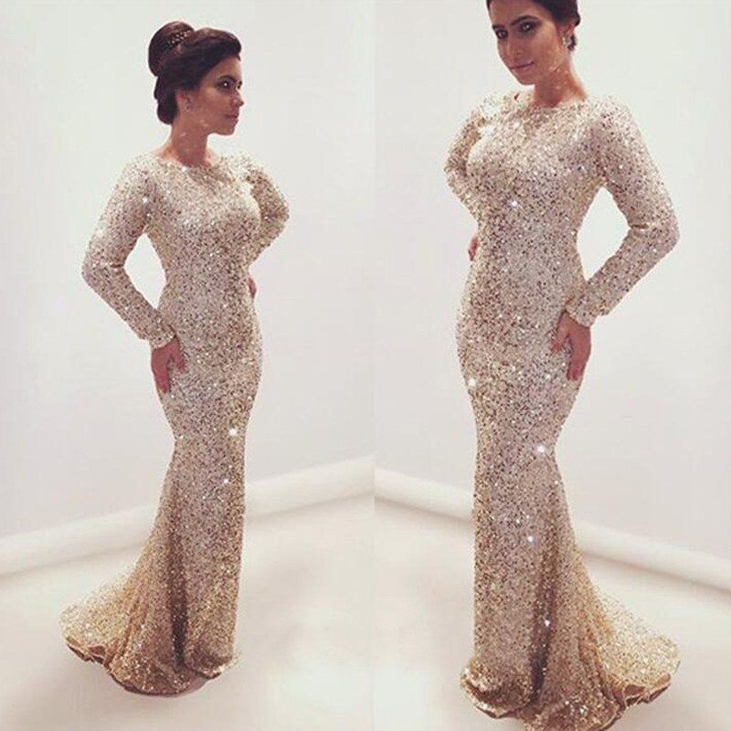 Gorgeous Sparkly Navy Open Back Mermaid Sequin Long Prom Bridesmaid ...