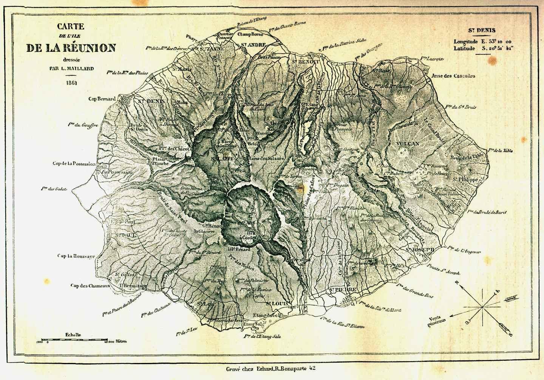 Connu Gravures du voyage de SIMONIN à l'île de la REUNION -1862 | cartes  VS53
