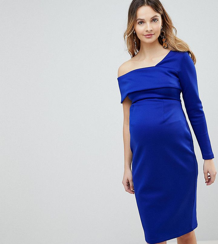 a60a31868000b ASOS Maternity ASOS MATERNITY One Sleeve Fold Front Midi Bodycon Dress