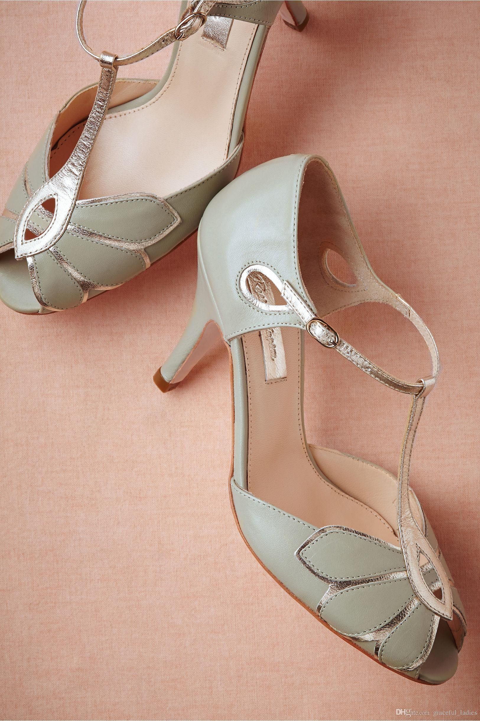 8cb7dce253a Vintage Ivory Wedding Shoes Wedding Pumps Mimosa T-Straps Buckle Closure  Leather Party Dance 3