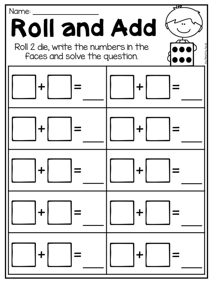 Roll And Add Addition Worksheet For Kindergarten This Packet Kindergarten Addition Worksheets Kindergarten Math Worksheets Kindergarten Subtraction Worksheets