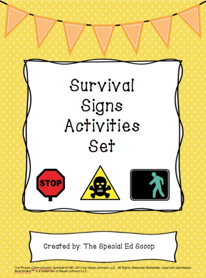 Survival Signs Activities Set In 2018 Functional Skills Classroom