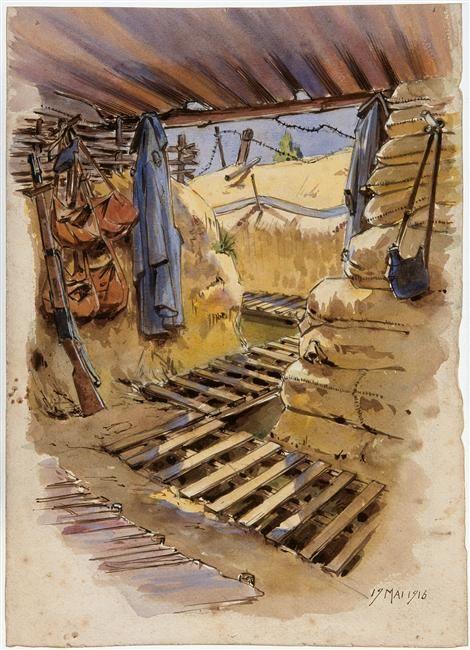 Abri dans les tranchées. Camille Godet, 1916.