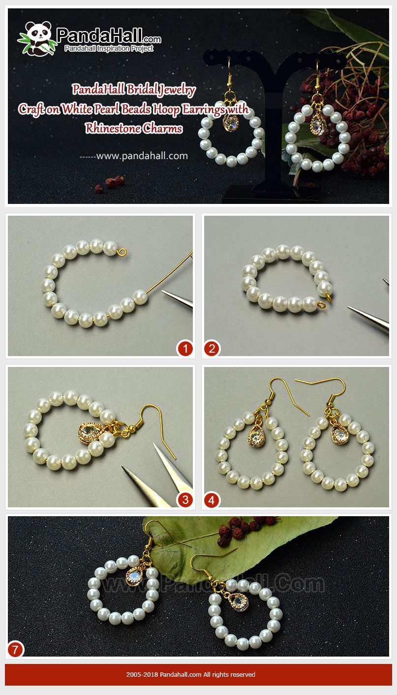 #PandaHall #JewelryMaking #Beads #DIY White #Pearl Beads Hoop #Earrings with #Rhinestone Are you looking for the suitable jewelry to wear at #wedding ceremony? Here I suggest you this pair of pearl beads hoop necklace which is easy to make at home. #ceremonyideas
