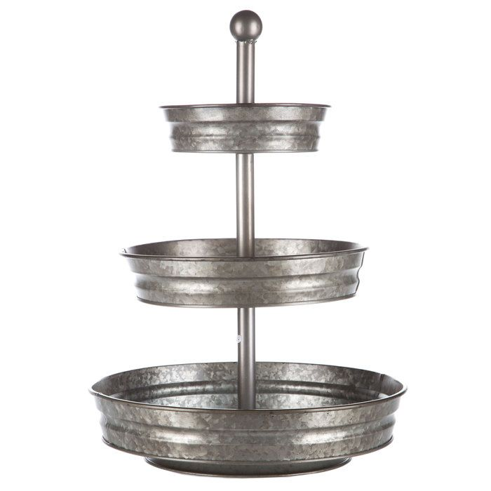 Galvanized Metal Three Tiered Tray Stand Tiered Tray Stand Metal Tiered Stand Farmhouse Centerpiece