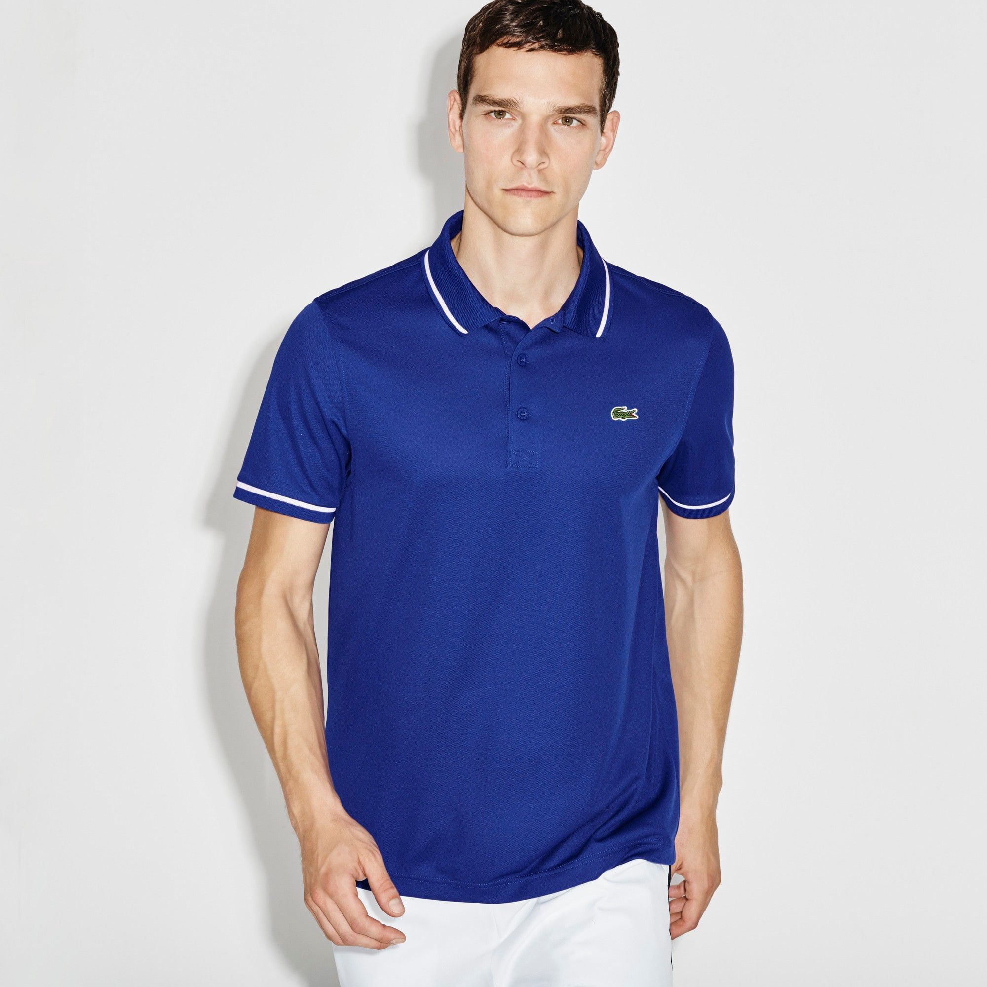 fcf8dedc91745 LACOSTE Men s SPORT Ultra-Dry Piping Tennis Polo Shirt - french royal  blue white.  lacoste  cloth