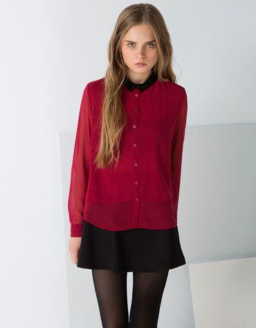 Bershka España - Camisa BSK cuello a contraste