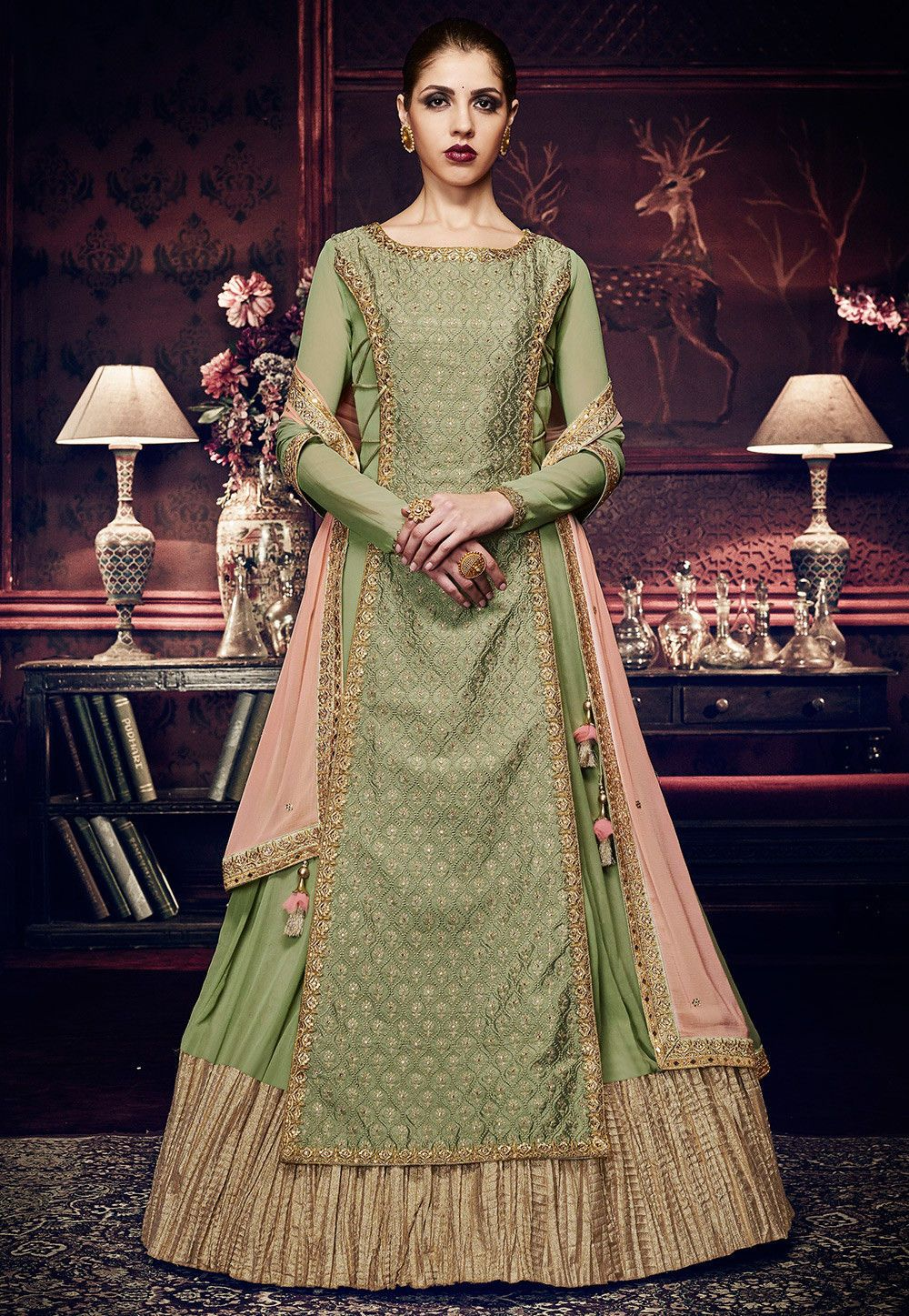 942d69ed2b Buy Embroidered Art Silk Layered Abaya Style Suit in Pastel Green online