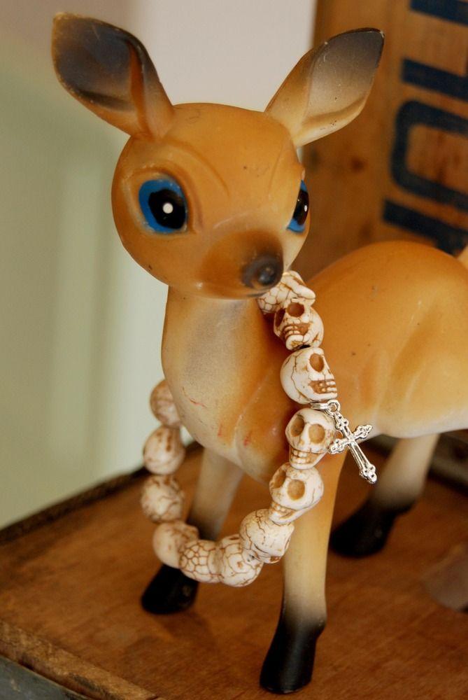 Image of White Skull Bead Bracelets