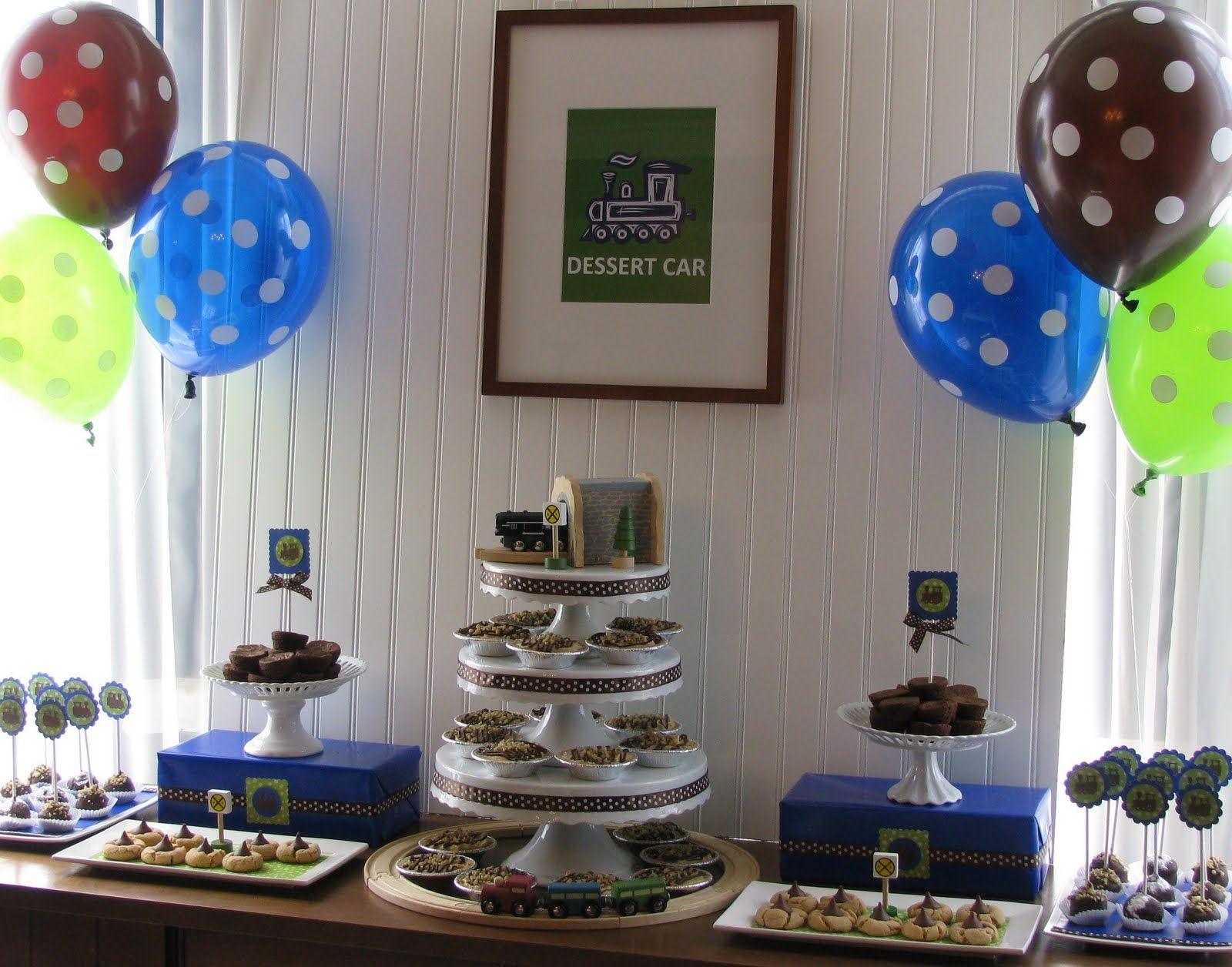 train themed baby shower dessert table