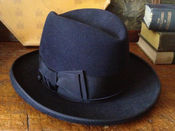 Vintage 1940s Knox New York Navy Blue Felt Mens Homburg Derby Fedora Hat ~  Size 7 ~ Original Knox Hat Box f927070ec8a