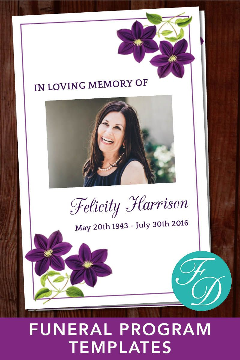 Printable Funeral Program Template Obituary Template Order Of