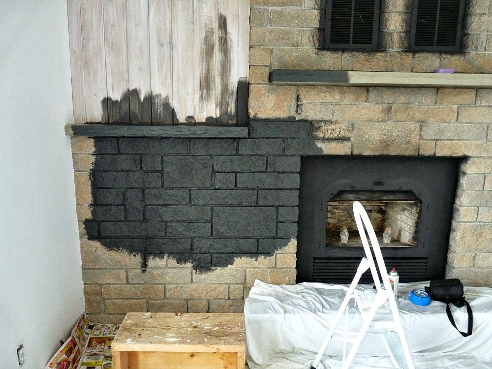 How To Easily Paint A Stone Fireplace Charcoal Grey Fireplace Makeover Painted Stone Fireplace Stone Fireplace Makeover Faux Stone Fireplaces