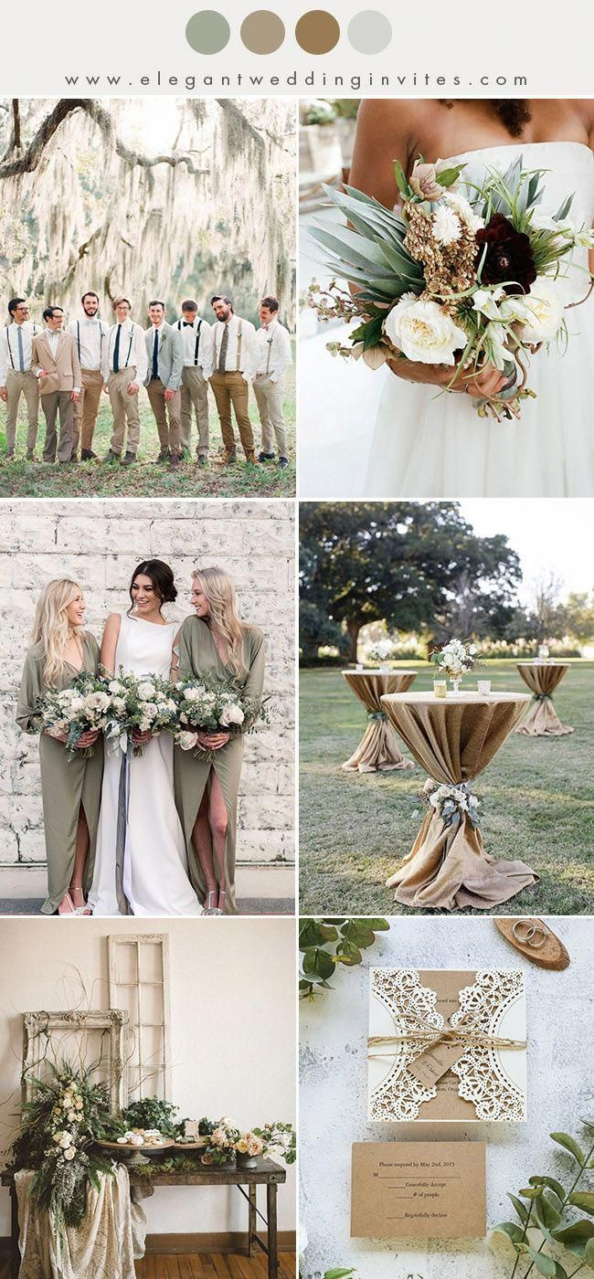 Rustic Olive Green And Warm Beige Fall And Winter Wedding Color