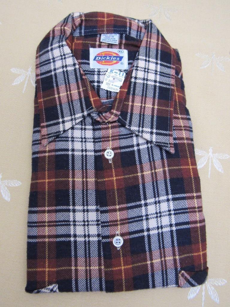edf3267b5801 NOS Vintage Dickies Men s Cotton PLAID Flannel Shirt Long Sleeves BROWN  Black XL