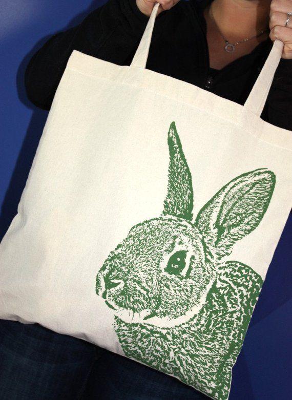 Rabbit Tote Bag, Rabbit Bag, Rabbit Lover Gift, Market Bag, Cotton Tote c4ce879e8e